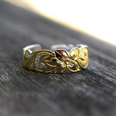 6mm Hawaiian Toe Ring Silver Plumeria Scroll Yellow Gold Hawaii Flower E7