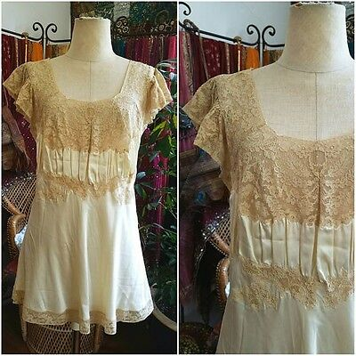 Antique Victorian edwardian delicate lace and silk chemise slip camisole
