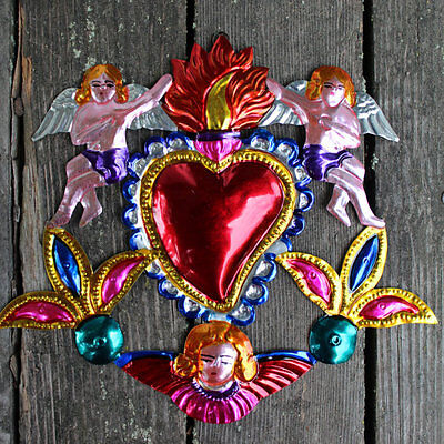 Lovely Mexican hand painted Tin Milagros - Large Flaming Heart, Angels & cupids