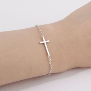 -UK- Silver Plated Unisex Delicate Chain Bracelet with Cross- 20cm Long