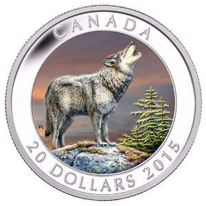 """2015 """"WOLF""""  SILVER COIN-CANADA MINT CONDITION!!!"""