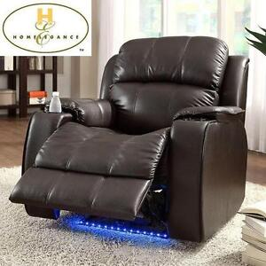 NEW* HOMELEGANCE LED POWER RECLINER - 116301242 - CARLYLE BONDED LEATHER BROWN CUPHOLDER LIGHTS RECLINERS CHAIR CHAIR...