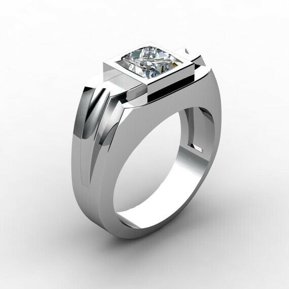 men s ring fashion crystal silver plated