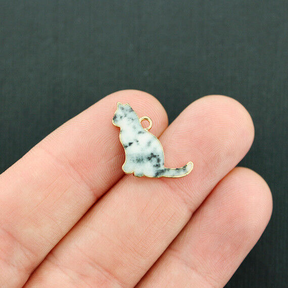 4 Cat Charms Gold Tone and Black and White Enamel Marble Calico Kitten - E725