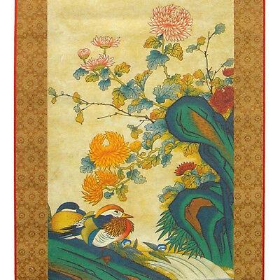 Wall Hanging Art Deco Scroll Modern Folk Mandarin Duck Flower Painting Print
