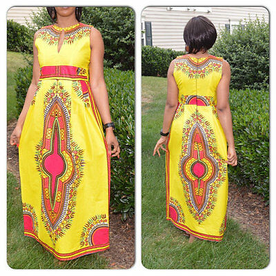 Moxeay Women Traditional African Print Beach Dress Dashiki Boho Maxi Long Dress