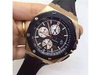 MENS AP ROYAL OAK OFFSHORE GOLD AND BLACK NEW WITH BOX BOOK CARDS TAGS