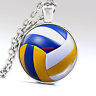 Vintage Volleyball Glass Dome Silver Chain Pendant Necklace jewelry #166