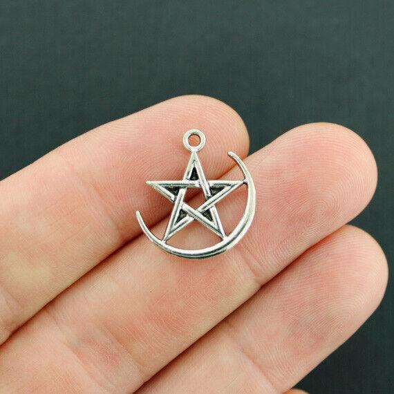 10 Pentagram Crescent Moon Charms Antique Silver Tone - SC7658
