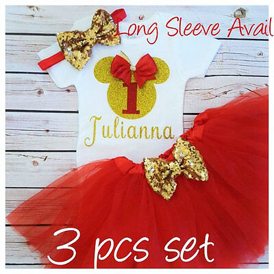 First birthday outfit ,Minnie Mouse outfit,Red And Gold bday,Handmade,Christmas