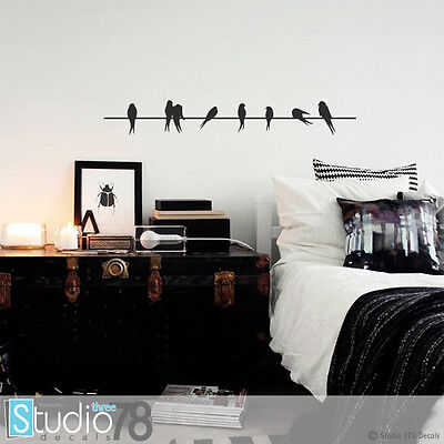 Birds On A Wire Vinyl Wall Decal - Home Decor - Lovebirds - Sparrows Black 36x5