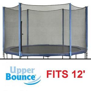 NEW UPPER BOUNCE ENCLOSURE SET FITS 12' TRAMPOLINE FRAME WITH 3 OR 6 SETS OF W SHAPE LEGS - SAFETY NETTING NETS