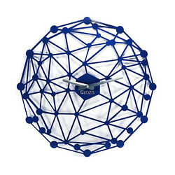 Metal Wall Clock Modern Unique Large Unusual Blue Space Home Decor FREE SHIPPING