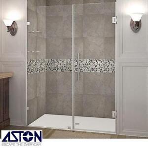 "NEW ASTON NAUTIS SHOWER ENCLOSURE SDR990-CH-59-10 139836327 59"" x 72"" FRAMELESS HINGED DOORS CHROME SHOWERS DOOR BATH..."