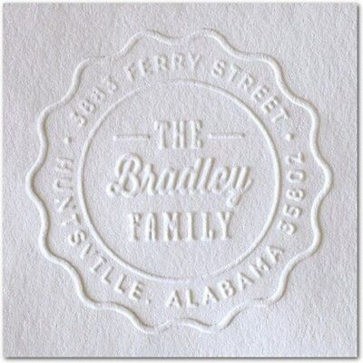 Shiny Seal Round Decorative Personalized Address Embosser With Family Name Addre