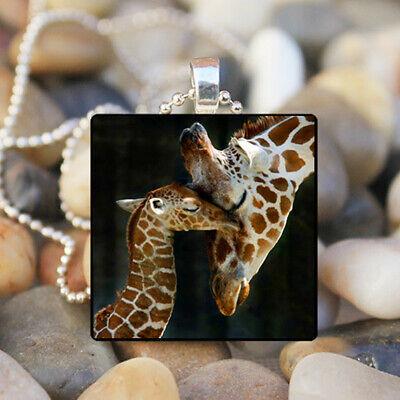 - Giraffe Family Art Cabochon Glass Silver Tile Chain Pendant Necklace Jewelry