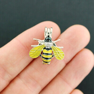 Bee Bead Cage Antique Silver Tone Enamel Rhinestones 3D Fits 8mm Bead - -