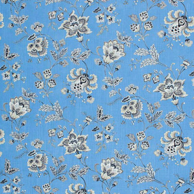 Cotton French Blue Black Cream Ivory Fabric Floral Jacobean Drapery Toile  IL9 ()