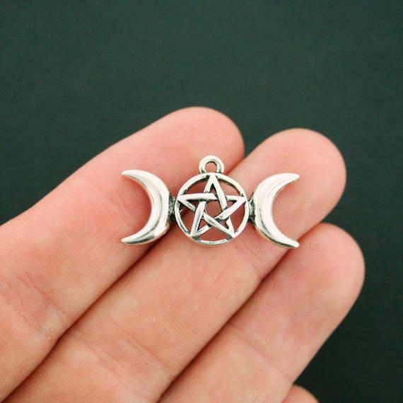 6 Moon Charms Antique Silver Tone Pentagram Triple Moon - SC3442