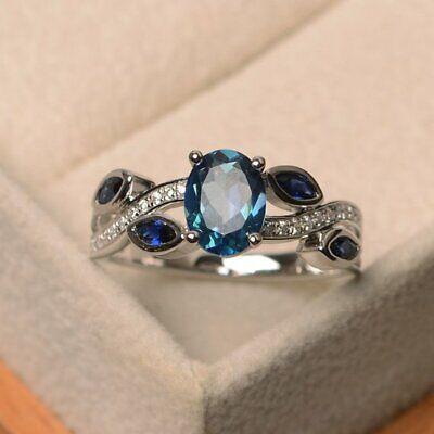 Fashion 925 Silver Wedding Rings Women Jewelry Aquamarine Free Ship Size 6-10