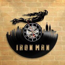 Iron Man Retro Vinyl Record Wall Clock Modern Children Room Comics Kids Handmade