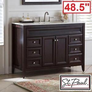 "NEW ST PAUL 48.5"" VANITY COMBO - 115857856 - BRISBANE CHOCOLATE CABINET COLORPOINT VANITY TOP MAUI BATH BATHROOM CABI..."