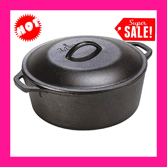5 Quart Cast Iron Dutch Oven. Pre-Seasoned Pot with Lid and