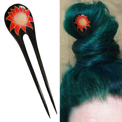 1PC Handcarved Black Paint Exotic Double Prong Hair Stick Red/Gold Lotus - Black Hair Paint