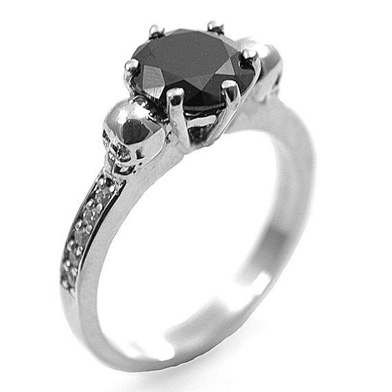 14k rose gold over round aaa black diamond 2ct solitaire with accents ring women