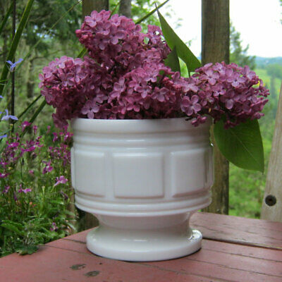 Randall Milk Glass Geometric Block Footed Flower Pot/Planter/Vase (big)
