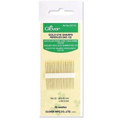Clover Gold Eye Sharps Needles (NO. 10) 20 Needle Pack - Gold Eye Sharps Needles