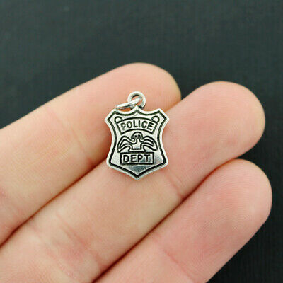 4 Police Badge Charms Antique Silver Tone Attached Jump Ring - SC1180 Police Badge Ring