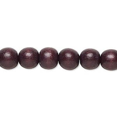 2 strands Wood round waxed dyed beads 5-6mm 7-8mm 9-10mm 11-12mm Chocolate Brown ()