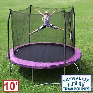 NEW SKYWALKER 10' ROUND TRAMPOLINE - 114494170 - PURPLE WITH SAFETY ENCLOSURE TRAMPOLINES BOUNCER BOUNCERS JUMPING JU...