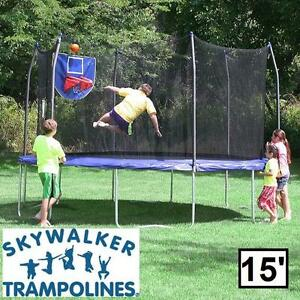 NEW ST 15' JUMP N DUNK TRAMPOLINE SKYWALKER TRAMPOLINES BLUE SAFETY ENCLOSURE BASKETBALL HOOP JUMPING DUNKING JUMP