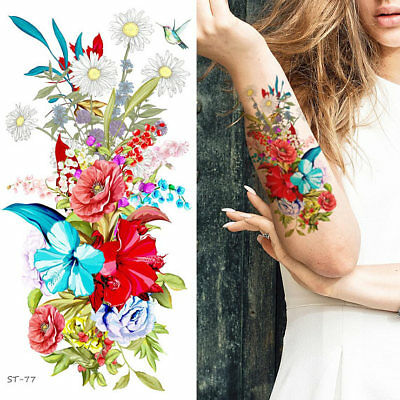Supperb Temporary Tattoos - Hand drawn Colorful Summer Flower Bouquet (Set of 2) ()
