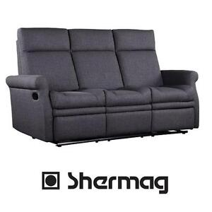 NEW SHERMAG RECLINER SOFA - 117525368 - GREY POLYESTER FABRIC MOTION RECLINERS LOVESEATS SOFA SOFAS LIVING ROOM DECOR