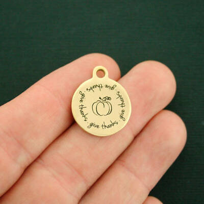 Give Thanks Pumpkin Gold Stainless Steel Charm - BFS2693GOLD ()