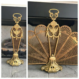 Antique Brass Peacock French Fan Fireplace Screen
