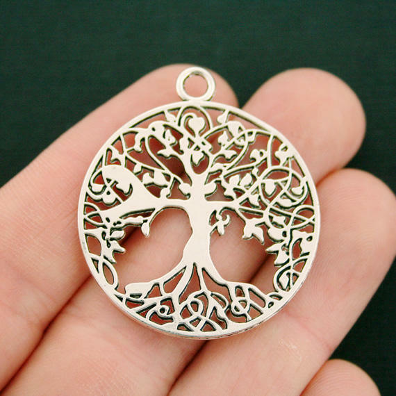2 Tree of Life Charms Antique Silver Tone 2 Sided Large Size - SC1723