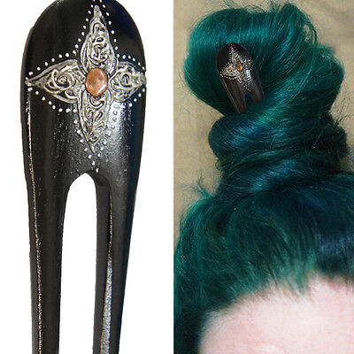 1PC Handcarved Black Paint Exotic Double Prong Hair Stick Painted Pinwheel & - Black Hair Paint