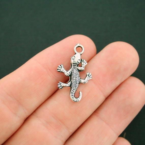 10 Gecko Lizard Charms Antique Silver Tone - SC219