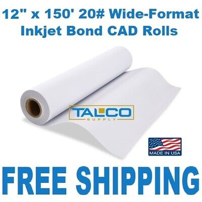2 12 X 150 20 92 Bright 2 Core Cad Engineering Inkjet Bond Plotter Rolls