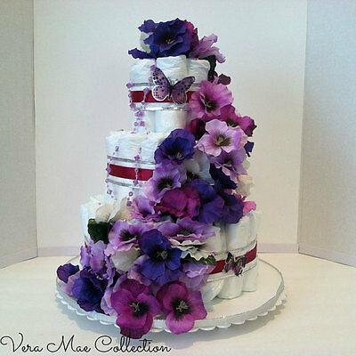 Beautiful Diaper Cake With Butterflies Table Top Centerpiece For A Baby Shower