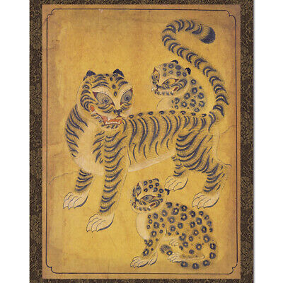Leopard Tiger Animal Painting Wall Art Hanging Home Room Decor Asian Scroll
