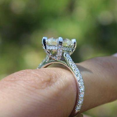 3.35 Ct Cushion Cut Diamond Engagement Ring Round Pave H,VS2 GIA Platinum 6