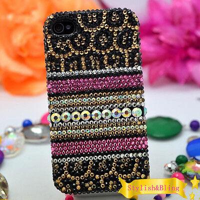 Bling Rhinestones Crystals Fashion Cheetah Print Case For Various Mobile Phones