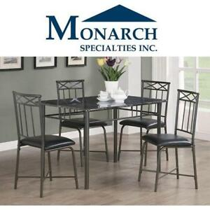 NEW MONARCH SPECIALTIES DINING SET I1036-1 201671821 5PC GREY MARBLE LOOK