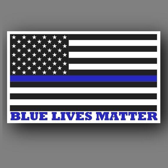 "Two (2) Blue Lives Matter American Flag 6"" Car Truck decal sticker"
