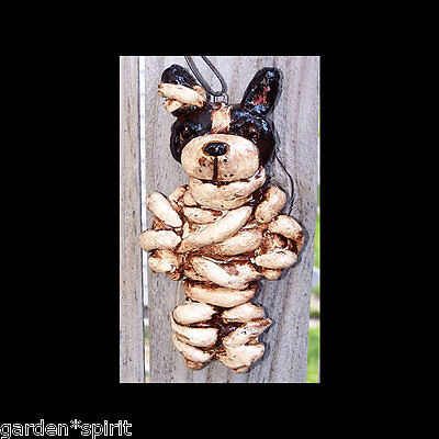 Halloween Folk Art Boston Terrier Dog Mummy Ornament Ooak Vintage Style New ()